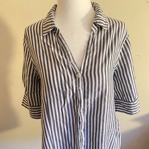 J. Crew Striped Popover Top